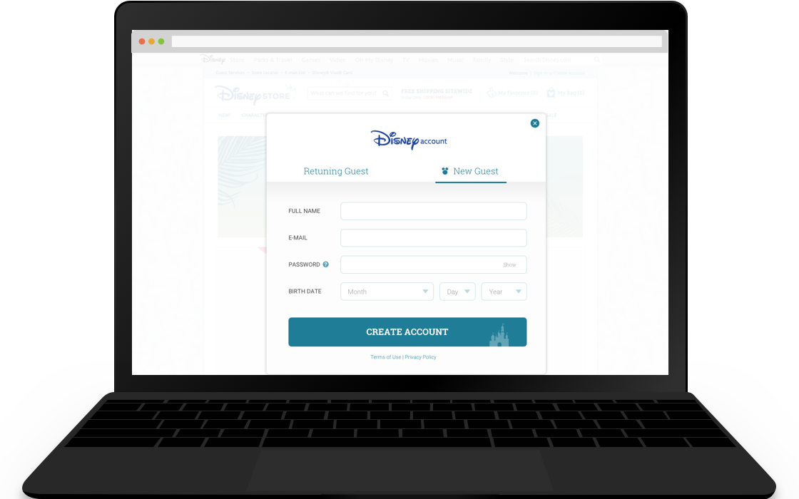 Sign Up Modal - Create Account
